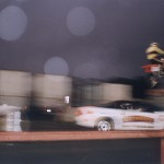 Shot of commercial stunt driver.