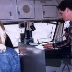 Donna Wichita and G. W. Turlock, Spenco Engineer monitoring fuel efficiency from the train cab.